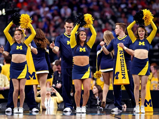 Michigan cheerleaders before the game against Loyola-Chicago