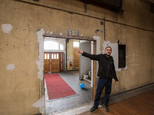 Jam Handy building owner Simeon Heyer talks about the space in Detroit on Wednesday, April 4, 2018 during a site visit while planning for use of the space for the Freep Film Festival. The building was used for much of the 20th century producing education, commercial and industrial films in Detroit. About 10 years ago, it was bought, and it has been steadily been getting reworked since. During Freep Film Festival, three classic Jam Handy films (from the 1930s and 50s) will be shown in the space where they were created.