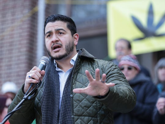 Democratic gubernatorial candidate Abdul El-Sayed speaks during the annual Hash Bash at U-M's Diag in Ann Arbor on Saturday, April 7, 2018.
