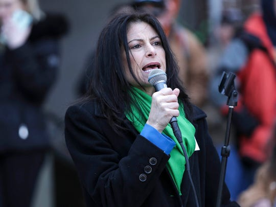 Democratic attorney general candidate Dana Nessel speaks during the Hash Bash at  U-M's Diag in Ann Arbor on Saturday, April 7, 2018.