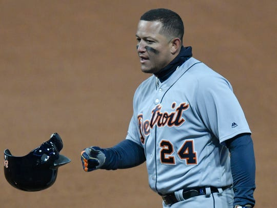 Detroit Tigers first baseman Miguel Cabrera (24) tosses his helmet after grounding out in the seventh inning against the Cleveland Indians at Progressive Field.