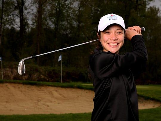 Ashley Zhu, a senior South Salem golfer. Photographed