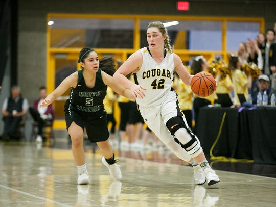Cascade's Halle Wright (42) in a 4A state semifinal