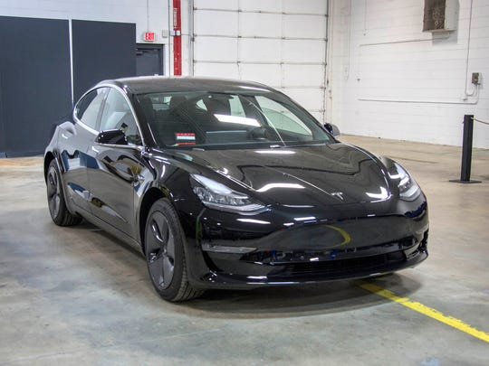 A Tesla Model 3 was part of a reverse engineering event at Munro & Associates in Auburn Hills on Wednesday April 25, 2018.