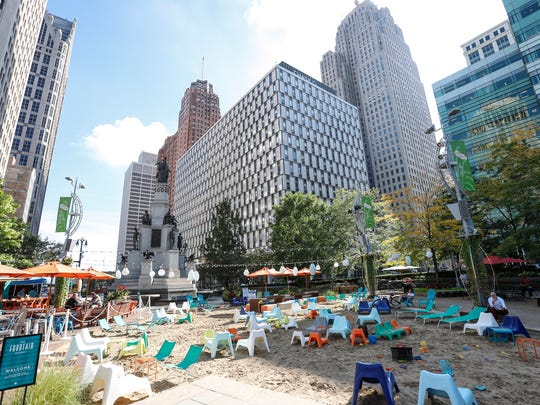 Campus Martius Park in downtown Detroit, photographed on Wednesday, September 20, 2017.