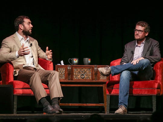 """From left, Andrew Luck and John Green talk during """"Listen Up: The Great American Read with Andrew Luck and John Green,"""" at Old National Centre, Indianapolis, Thursday, May 3, 2018. During the event, Colts quarterback Andrew Luck featured John GreenÕs """"Turtles All the Way Down"""" as his May book club pick and WFYI hosted a live conversation between Luck and Green."""