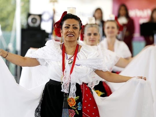 Rosa Floyd of Nellie Muir Elementary School in Woodburn performs during the opening ceremony of the 13th Annual Woodburn Cinco de Mayo Celebration at Chemeketa Community College Woodburn campus in Woodburn, Oregon, May 4, 2018.