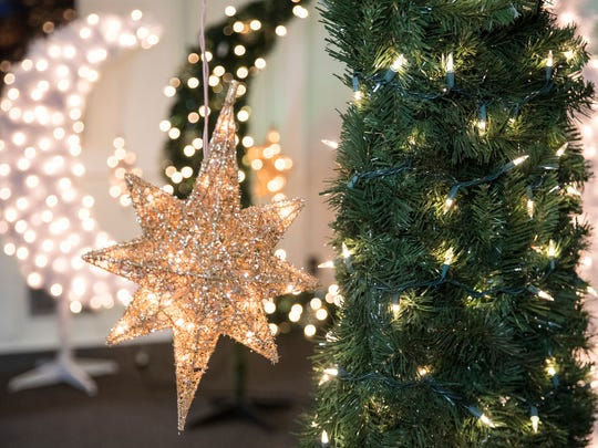 A star hangs off a finished Ramadan tree is seen in