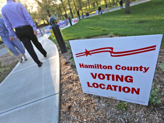 Voters come and go to vote at the Coxhall and Clay Center 1 voting site in Hamilton County, for the primary election, Tuesday, May 8, 2018.