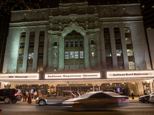 """The exterior view of Indiana Repertory Theatre seen on Washington Street in downtown Indianapolis, on opening night of """"Noises Off,"""" Friday, April 27, 2018."""