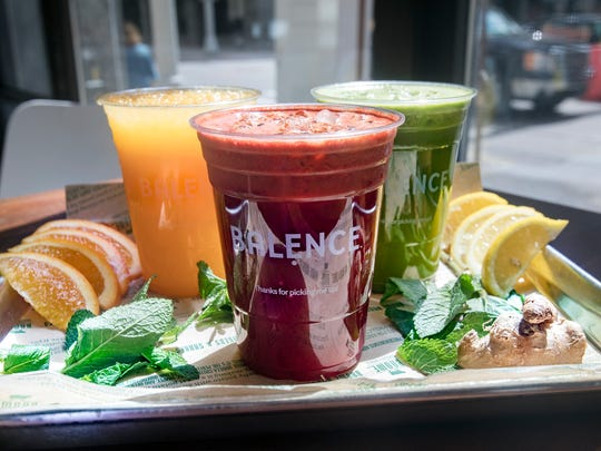 Balence juices: Gold Rush, left, Scarlet Glow and Emerald