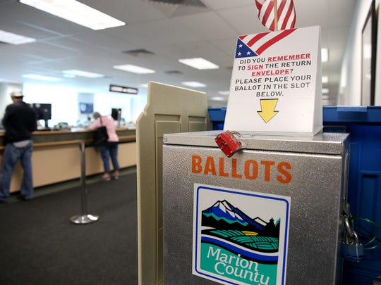 A ballot dropbox at the Marion County Elections County Clerk's office in Salem on Friday, May 11, 2018.