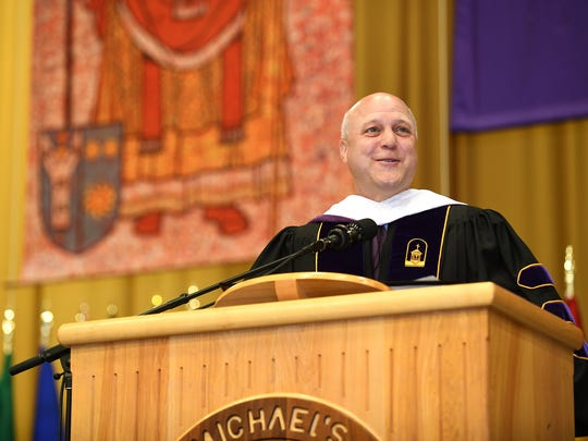 Mitch Landrieu, the mayor of New Orleans since 2010,gave the commencement address to St. Michael's College graduates on Sunday, May, 13, 2018.
