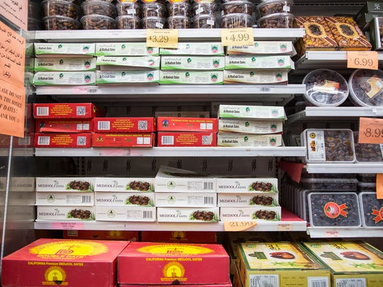A variety of dates for sale are seen in the Super Greenland Market in Dearborn, Thursday, May 3, 2018.