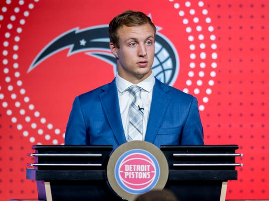 Pistons shooting guard Luke Kennard represented the franchise on stage at the NBA draft lottery on Tuesday in Chicago.