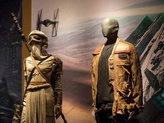 From left, the costume for Rey and Finn's leather jacket