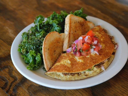 At Seed to Sprout in Avon, a vegan omelet is made with tofu and cashews, and filled with sunflower taco meat, avocado and cashew cheese.