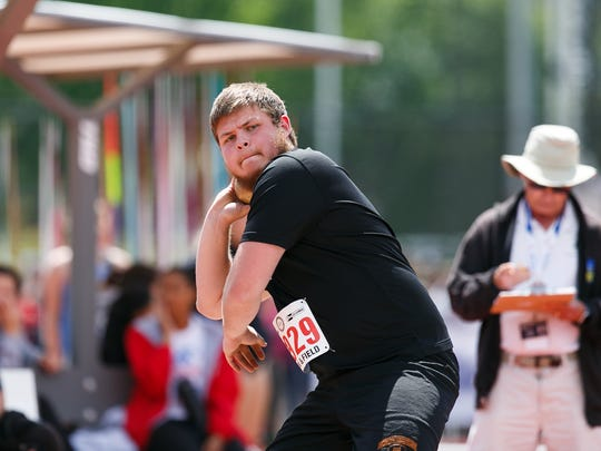 Silverton's Andrew Bissel competes in the 5A boys shot put at the OSAA Track and Field Championships on Friday, May 18, 2018, at Hayward Field in Eugene.