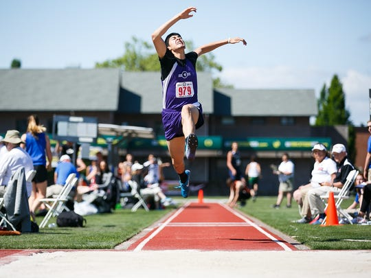 Jefferson's Cesar Sepulveda competes in the 3A boys triple jump at the OSAA Track and Field Championships on Friday, May 18, 2018, at Hayward Field in Eugene.
