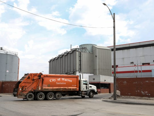 A City of Warren garbage truck drives into the Detroit Renewable Power facility on Wednesday, May 2, 2018.