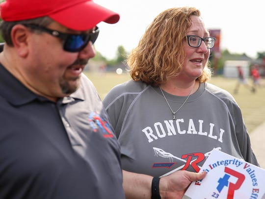 Angie Romano became emotional as her husband,  Roncalli