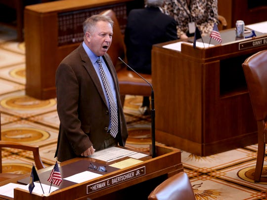 Sen. Herman Baertschiger Jr. speaks during the opening of the Legislature special session at the Oregon State Capitol in Salem on Monday, May 21, 2018.