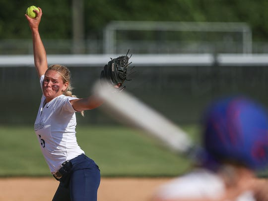 Decatur Central Hawk Karli Ricketts (5) pitches during