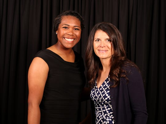 Nadia Witt with soccer star Mia Hamm, special guest for the  Statesman Journal Sports Awards, at the Salem Convention Center on Tuesday, June 6, 2017.