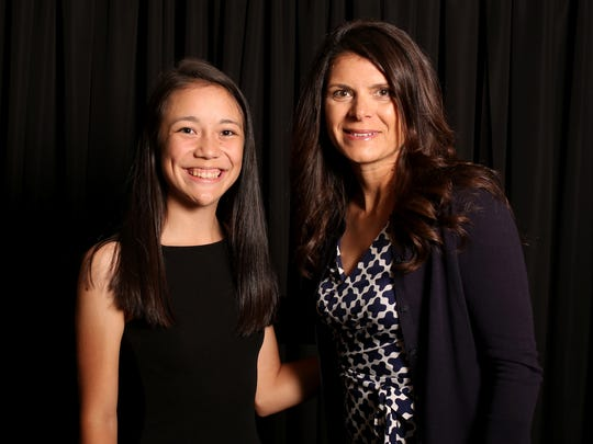 Ashley Zhu with soccer star Mia Hamm, special guest for the  Statesman Journal Sports Awards, at the Salem Convention Center on Tuesday, June 6, 2017.