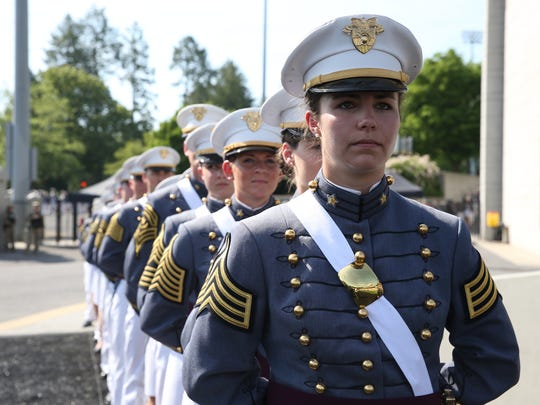 Cadets of the class of 2018 take part in  the 220th graduation and commissioning ceremony at U.S. Military Academy at West Point on Saturday, May 26, 2018.