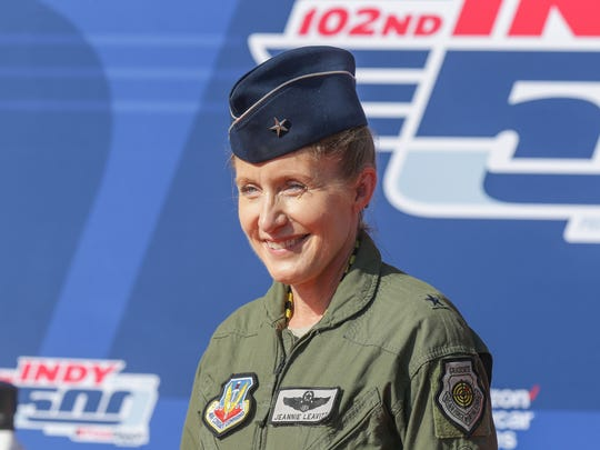 Jeannie Leavitt, who became the United States Air Force's first female fighter pilot in 1993, and was the first woman to command a USAF combat fighter wing, walks the red carpet during the102nd running of the Indy 500 at Indianapolis Motor Speedway on Sunday, May 27, 2018.