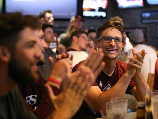 The MSU Bears baseball team gathered at Buffalo Wild Wings for a watch party to find out they have been selected to play in the NCAA Division I Baseball Championship in Oxford, Miss. Monday, May 28, 2018. This is the 11th time in the team's history  has been selected to play for the Championship. Jason Connel / for the News-Leader