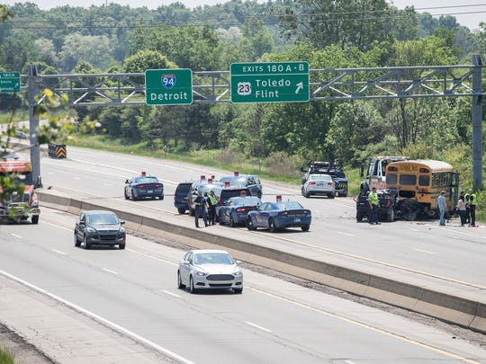 School bus involved accident on eastbound I-94 near U.S. 23 in near Ann Arbor on Tuesday, May 29, 2018.