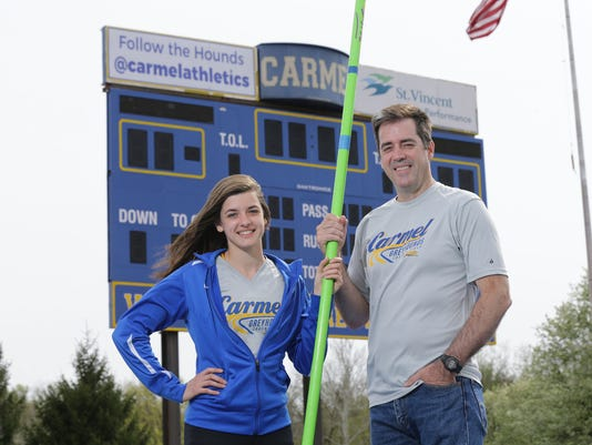 Carmel High School pola vaulter Kara Deady, and her parents Mark Deady and Dawn Gelon have athletics in common.