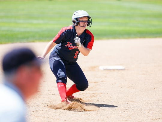 Kennedy's Emily Cuff pauses during her run from second to third in the OSAA Class 2A/1A State Championship on Friday, June 1, 2018, in Corvallis. The Trojans won 10-0 after five innings against Pilot Rock/Nixyaawii.