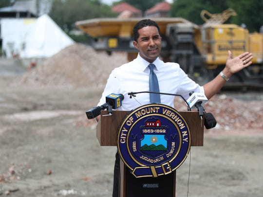 Mount Vernon Mayor Richard Thomas talks about the progress of the demolition of Memorial Field during a press conference on Friday, June 1, 2018.