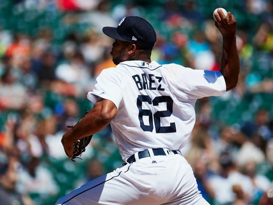 Sandy Baez pitches in the eighth inning against the Yankees at Comerica Park on June 4.