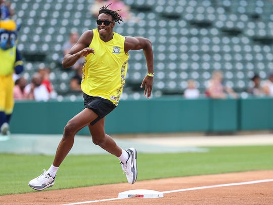Indiana Pacer Myles Turner starts the game off with an inside-the-park home run, at the 10th Annual Caroline Symmes Memorial Celebrity Softball Challenge at Victory Field in Indianapolis, Thursday, June 7, 2018. The game raises funds for the Indiana ChildrenÕs Wish Fund, granting wishes to Indiana children who have life-threatening illnesses.