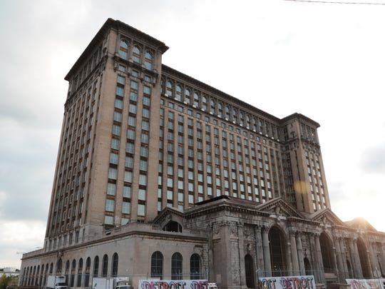 A view of the exterior of Michigan Central Station