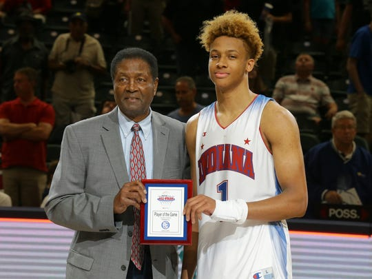 Indiana All-Star player Romeo Langford (1) is presented