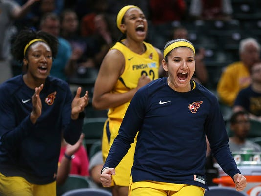Indiana Fever bench reacts at Banker's Life Fieldhouse in Indianapolis, June 12, 2018
