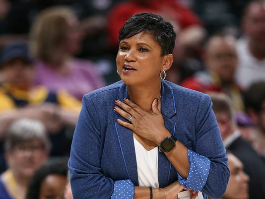 Indiana Fever head coach Pokey Chatman at Banker's Life Fieldhouse in Indianapolis, June 12, 2018