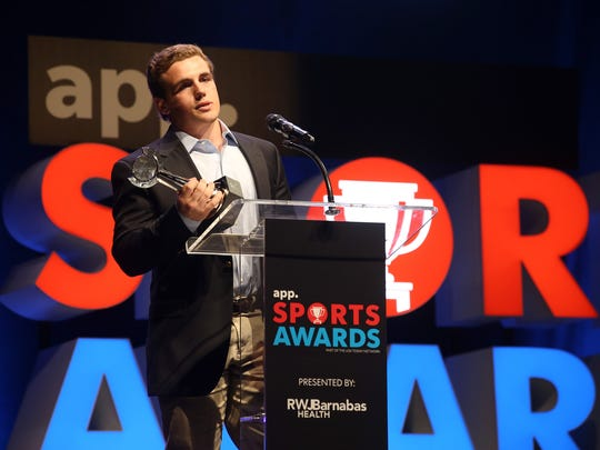 Manasquan's Canyon Birch accepts the spring boys lacrosse player of the year award during the Asbury Park Press Sports Awards at the Count Basie Theatre in Red Bank, NJ Wednesday June 13, 2018.  #APPSportsAwards