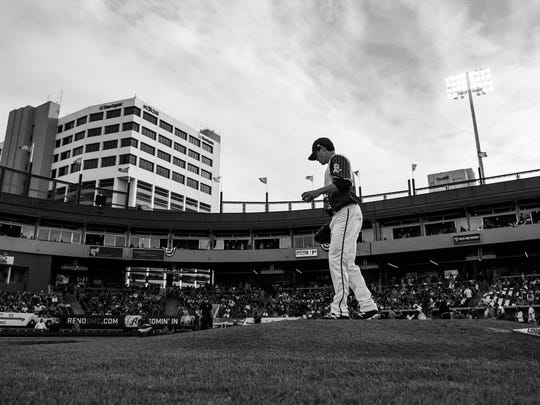 Anthony Vasquez prepares to deliver a pitch during a game earlier this season at Greater Nevada Field..
