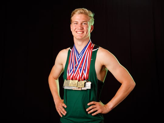 Wilson McLean, a Salem Academy senior, is nominated for boys track and field player of the year for the Statesman Journal Mid-Valley Sports Awards. Photographed at the Statesman Journal in Salem on Monday, May 21, 2018.