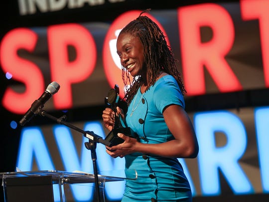 In 2017, Pike runner Lynna Irby was IndyStar's girls athlete of the year. She accepted the honor at Clowes Memorial Hall on the Butler campus.