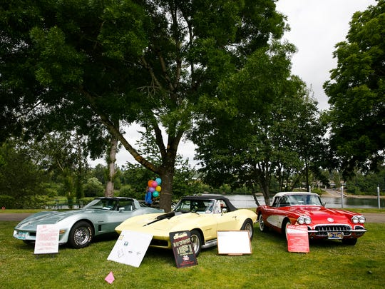 (Left to right) 1982 C3, 1967 C2 and 1960 C1 Corvettes at the first Corvettes by the Carousel event on Saturday, June 16, 2018, in Riverfront Park.