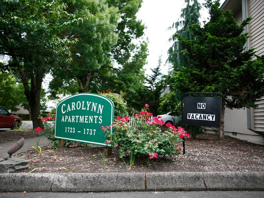 A 'No Vacancy' sign hangs at Carolynn Apartments on Summer Street NE on Friday, June 15, 2018. Monthly apartment and house rent in the Salem area now exceeds what 84,000 Marion and Polk county residents can afford to pay.