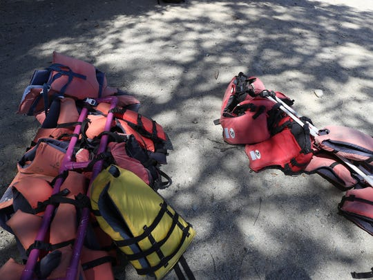 Staff leaves lifejackets on the beach available for swimmers at Whiskeytown Lake.
