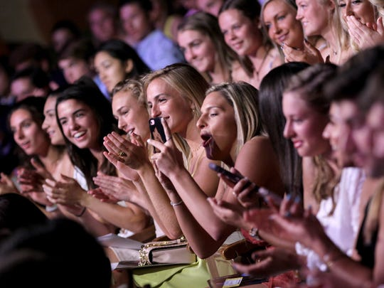 THe audience gets excited at the Count Basie Theater during the Asbury Park Press Sports Awards Wednesday evening, June 13, 2018.
